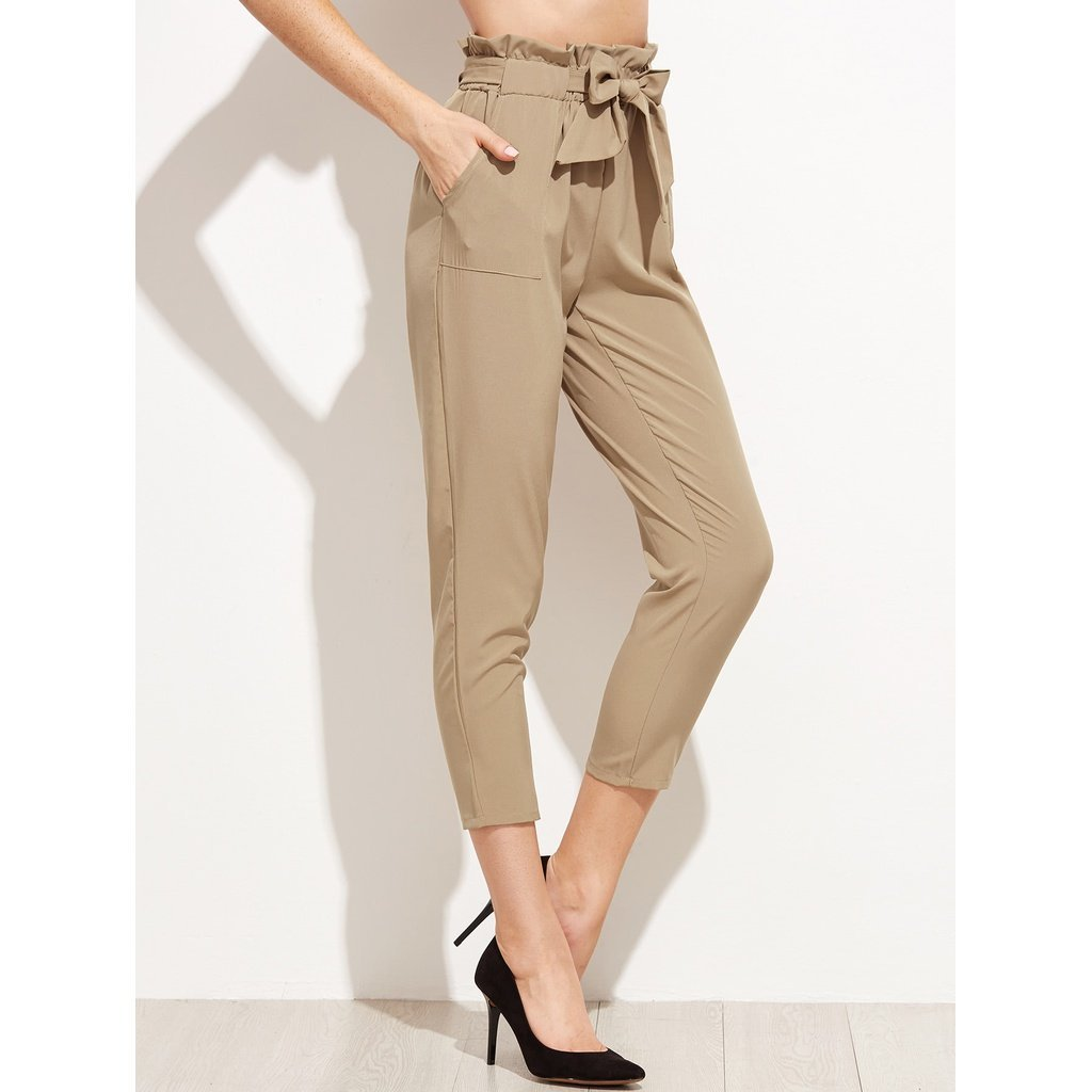 Women - Apparel - Pants - Trousers Tie Waist Shirred Peg Pants fashion clothing accessories shoes jewelry