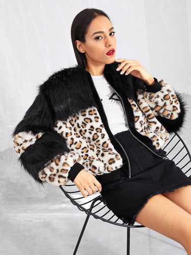 6ecc12a9bcac Zip Up Leopard Pattern Faux Fur Coat fashion clothing accessories shoes  jewelry