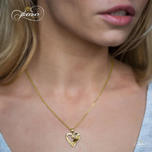 Women - Jewelry - Necklaces Elegant Mother Daughter Necklace, 925 Sterling Silver, 14K Gold Plated Heart Necklace Fashion Madness