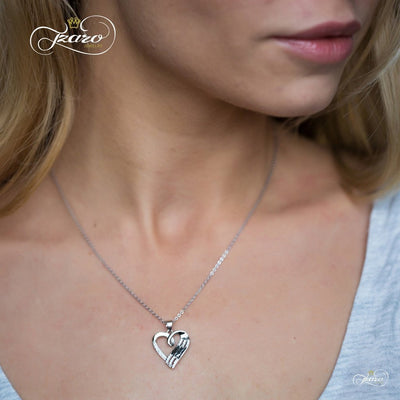 Women - Jewelry - Necklaces Elegant Mother Daughter Necklace, 925 Sterling Silver, Silver Plated Heart Necklace Fashion Madness