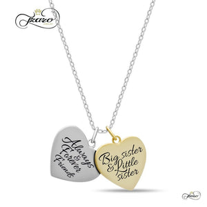 Women - Jewelry - Necklaces Sister Double Heart Necklace, 925 Silver, 14K Gold and Silver Plated Two Heart Necklace Fashion Madness