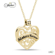 "Women - Jewelry - Necklaces Sister Heart Necklace,  925 Silver, 14K Gold Plated Necklace Engraved w ""Sisters Forever"" Fashion Madness"