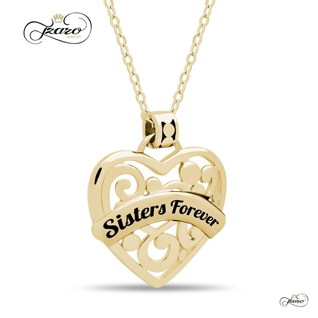 Women - Jewelry - Necklaces Sister Heart Necklace,  925 Silver, 14K Gold Plated Necklace Engraved w