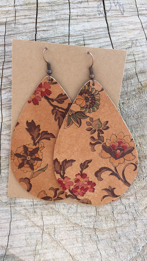 Leather Floral Earrings