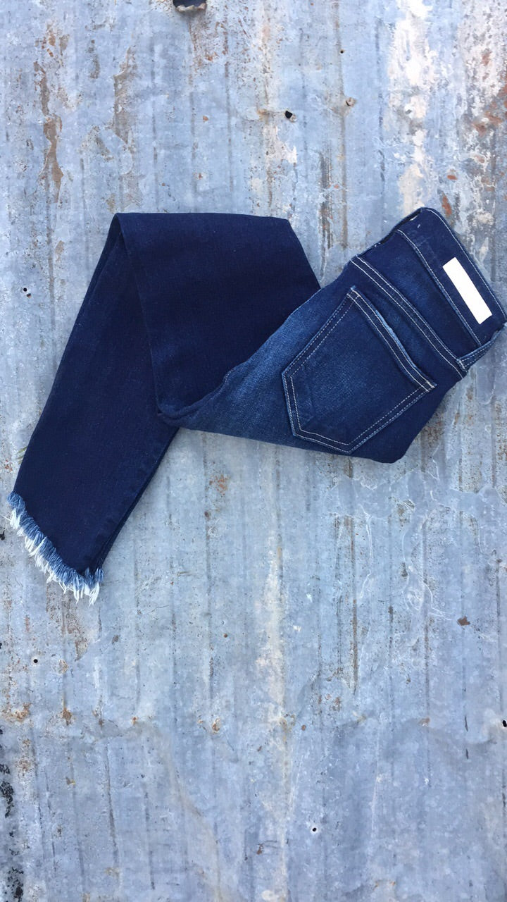 Fringe Tapered Ankle Length Jeans