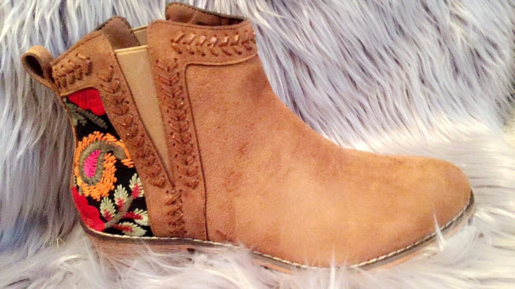Flower embroidered camel booties