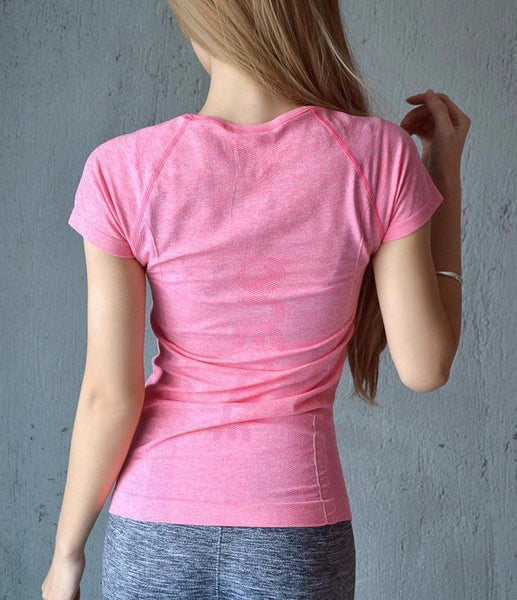 t-shirt rose léger yoga de dos