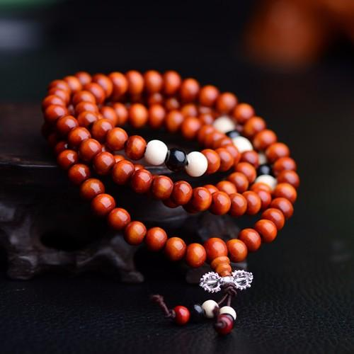 bracelet naturel bois perles orange