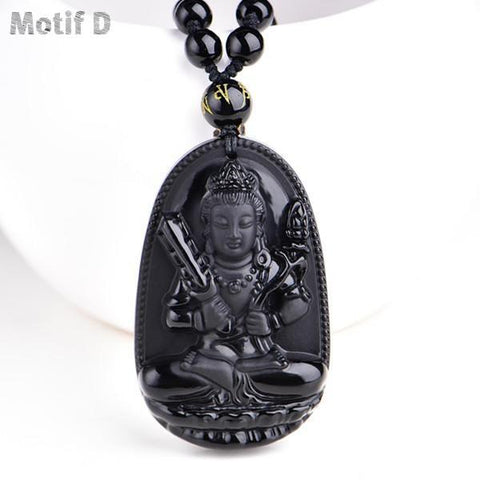 collier de protection en obsidienne noire