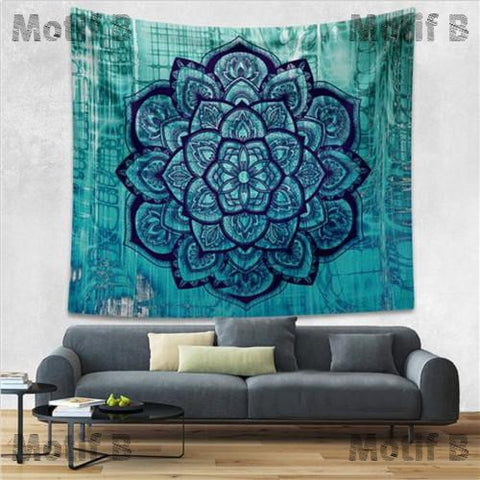 toile murale lotus fond turquoise