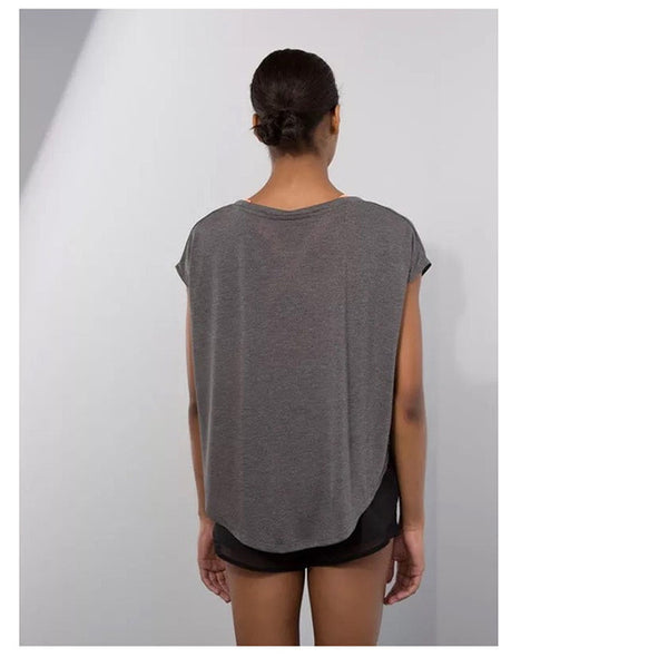 top yoga gris de dos