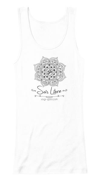 top yoga blanc lotus mandala