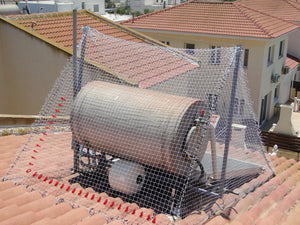 Complete Pigeon and Bird Netting Solution Fixed Over Typical Cyprus Roof Hot Water Tank with One Or Two Solar Panels