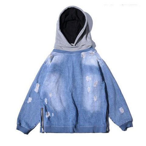 Hooded Denim Sweater - Blue