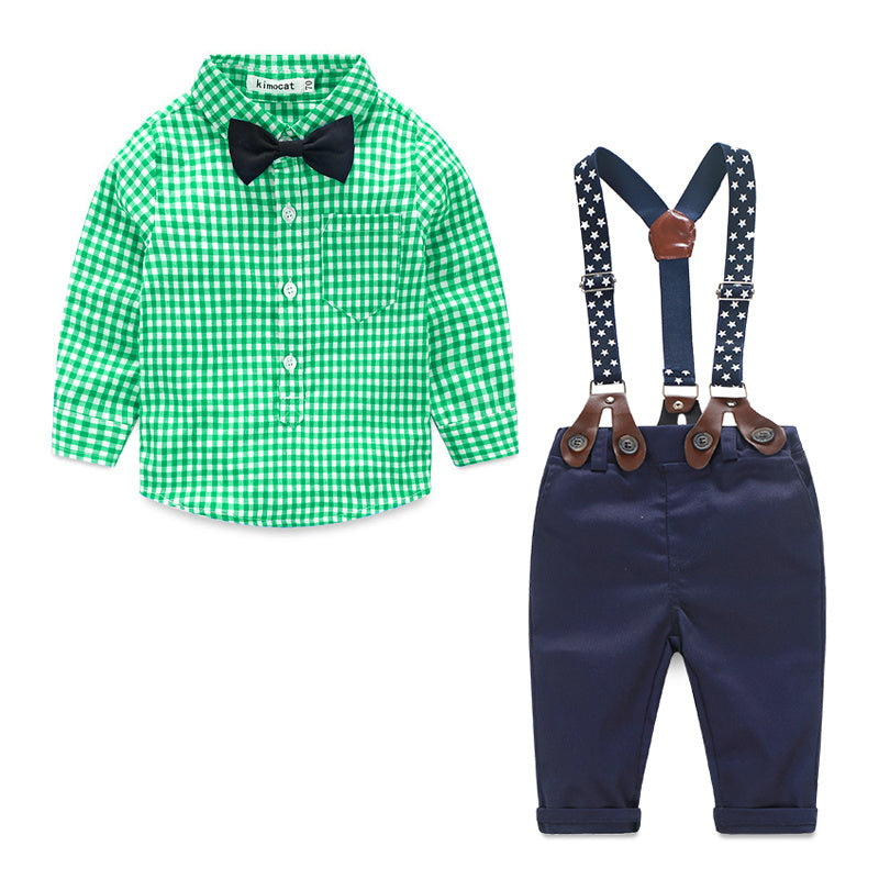 Stylish gentleman Plaid Shirt, Suspender and bow tie Trousers Set for Boys
