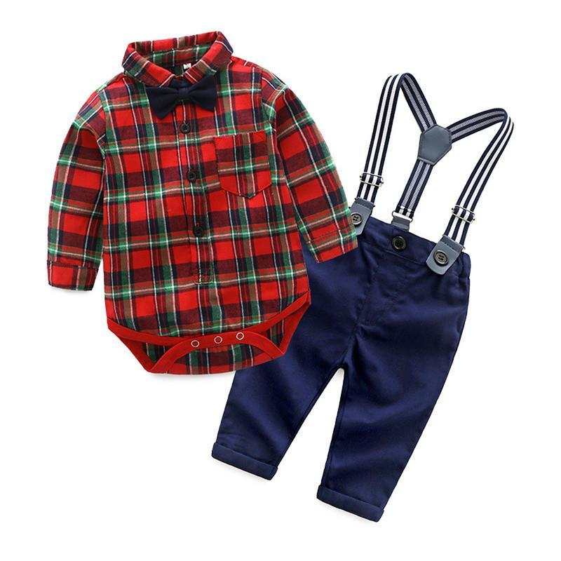 Stylish Plaid Shirt, Suspender and bow tie Trousers Set for Boys