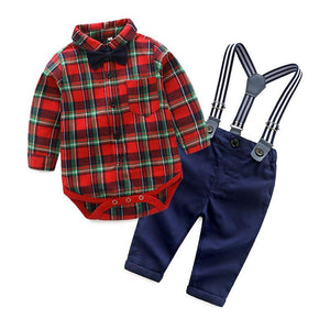 b4cfc297 Stylish Plaid Shirt, Suspender and bow tie Trousers Set for Boys ...