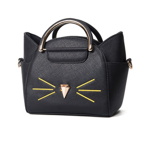 """Classy Cat""  Hand Stitched Leather Bag"