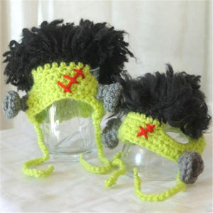 Knitted Frankenstein Monster Hat | Cat Costume