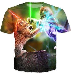 Cats Fighting With Lightsaber T-Shirt
