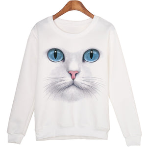 White Cute Cat Sweatshirts - Only Cat Shirts