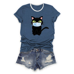 Cartoon Masked Cat Print T-shirt