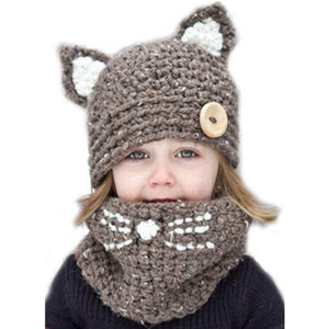 Childrens Knitted Cat Ears & Scarf Wrap