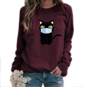 Cartoon Masked Cat Print Pullover