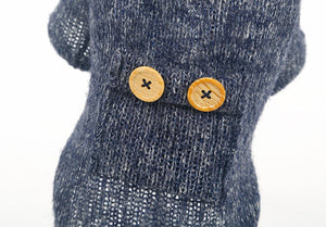 Cat Sweater Blue 2 buttons So CUTE! - Only Cat Shirts
