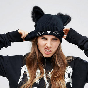 Warm Winter Hat  Wool Knitted Cat Ears - Only Cat Shirts
