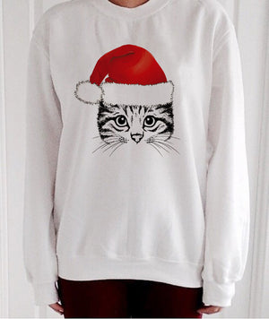Christmas Cat Sweatshirt  Santa Hat - Only Cat Shirts