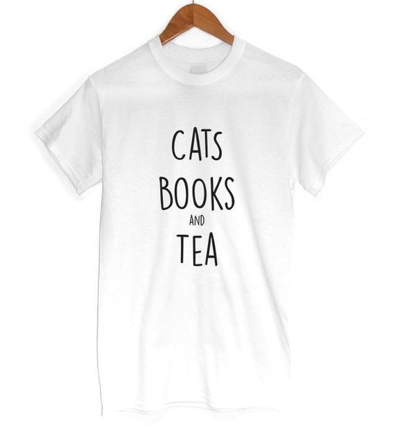 ddf5e19ef Cats and Books and TEA Womans Cat Shirt - onlycatshirts
