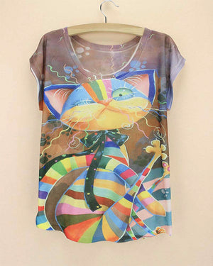 AMMINADY Multicolor Rainbow Cat Top - Only Cat Shirts