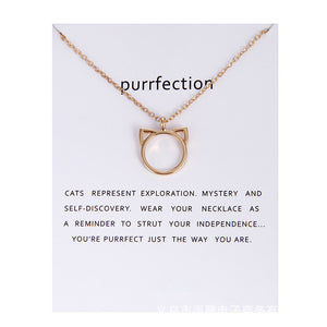 Purrfection cat ear alloy pendant short necklace