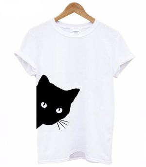 c9b2a2cb cat looking out side Print Women tshirt Cotton - Only Cat Shirts
