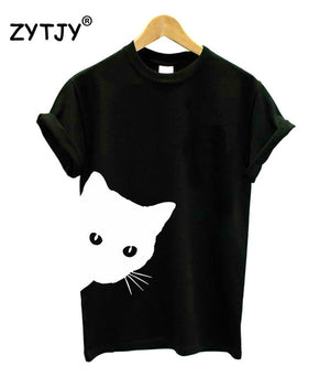 cat looking out side Print Women tshirt Cotton - Only Cat Shirts