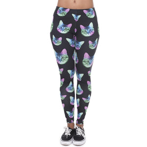 Zohra Fashion Leggings Women Neon Cat Black High Waist Legings - Only Cat Shirts