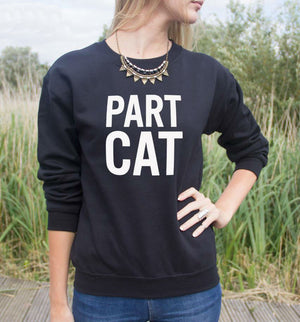 part cat sweater black - onlycatshirts