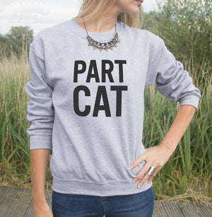 part cat sweatshirt gray - onlycatshirts