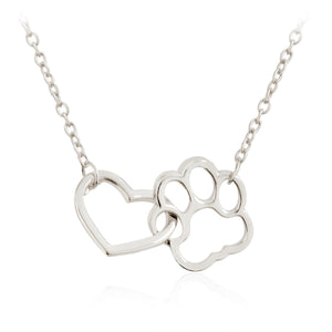Pet Paw Footprint Necklace Heart Pendant - Only Cat Shirts