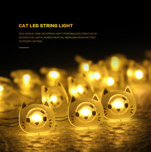 Cat LED String Lights Warm White - Only Cat Shirts