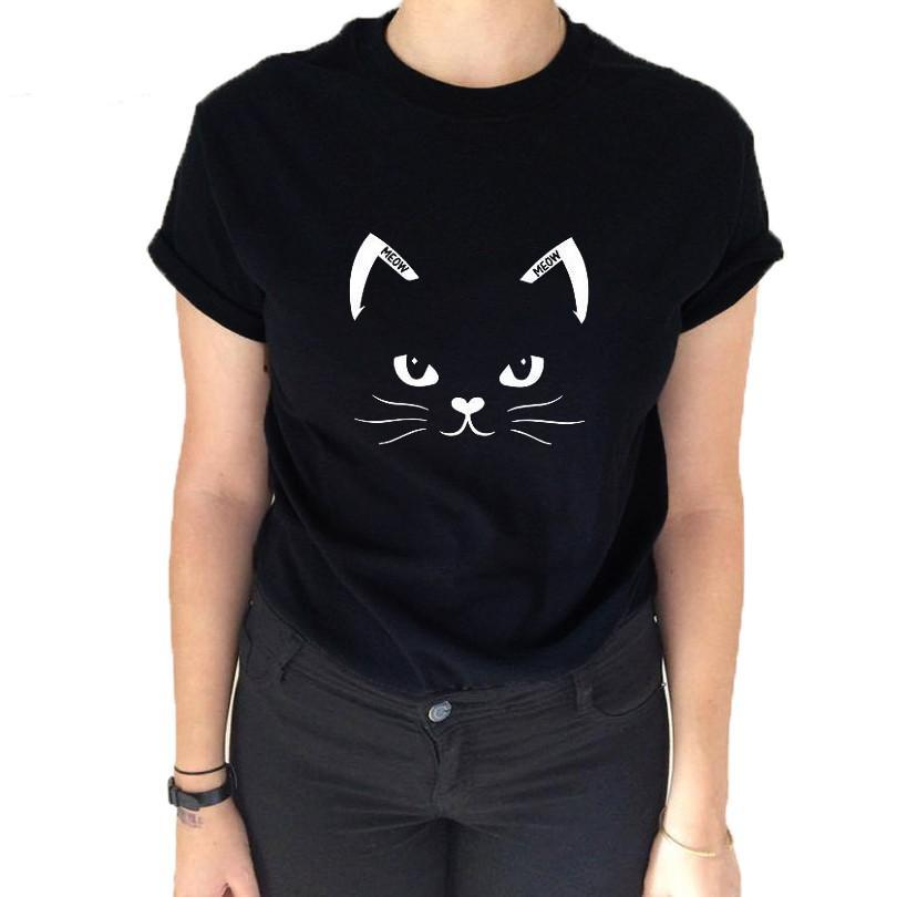 fbb9a484 Simple Design Black Cat Face Tshirt - Only Cat Shirts