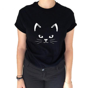 Simple Design Black Cat Face Tshirt - Only Cat Shirts