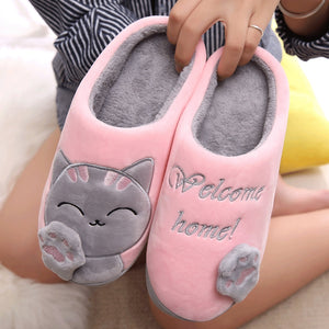 soft pink welcome home cat slippers