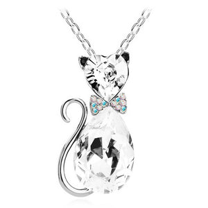 Austrian crystal Cat catty GP Pendant Chain Necklace - Only Cat Shirts