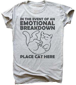 In The Event of Emotional Breakdown Place Kitten Here Women's T-Shirt - Only Cat Shirts