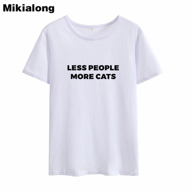 c88f36e9c Less People More Cats Print Funny T Shirt - Only Cat Shirts