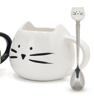 Ceramic Cute Cat Mug With Spoon - 400ML