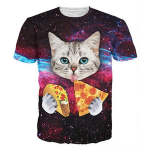 Harajuku Cat Eating Pizza & Tacos T-shirt