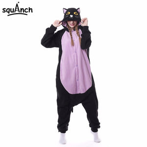 Black/Purple Cat Onesie | Adult Size